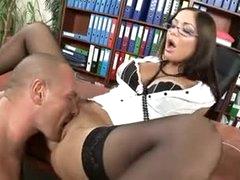 Hawt lips secretary slut drilled in his office