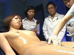Bizarre Japanese medical exam with in nature's garb female patient
