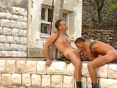 2 sexy and sweet army chaps are pounding and drilling every other