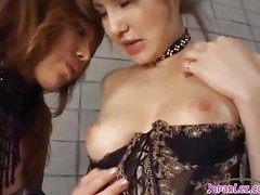 2 Hawt Asian Girls In Sexy Underware Engulfing Each Other Nipps Patting On The Mattress In The Basement