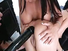 Charming lesbian beauties know how to put huge darksome dildo into black hole