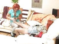Hannah&Clara nylon footfuck movie scene