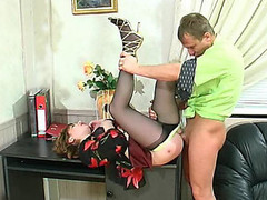 Freaky business-woman in barely darksome hose fucking and working at one time