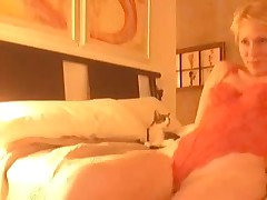 Golden-haired gets horny after virtual sex and begins self-pleasuring. That sweetheart masturbates, stroking her clitoris and feels forthcoming orgasm. Suddenly this sweetheart notices that this sweetheart forgot to turn off web-camera, but now that can't stop her.