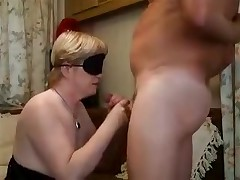 Blond lady with a blindfold is forced to feel her way to a hard boner previous to putting it in her mouth. The epic fellatio gets a little too hot and that babe need to take a break with a hand job in betwixt the deep throats.