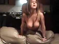 Aged floozy with large natural breasts is fucked from behind, her chap is coarse with her.