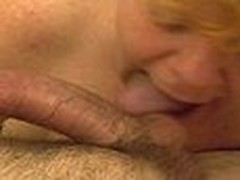 This older redhead gives a lengthy hawt blowjob. Engulfing and licking dong and working his balls hard until that dude shoots his hawt load of cum.