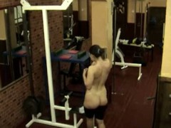 The same plump bimbo caught on livecam in the gym when stripping and walking nude having no clue about the voyeur who filmed her shaggy snatch and yummy curves when she showed off before giant mirror!