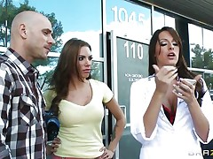 Lady doctor wants to fuck the husband of a beautiful babe but wife refuses as a result that babe gives a long prescription, to avoid inconvenience that babe allowed her husband to be fucked. Doctor wants a lesbo action too. She licked her cunt and ass. Fortunate husband gets his shlong suck by the lustful doctor