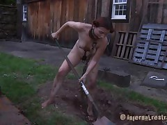 The worthless slut Maggie digs a aperture to stay in it. That playgirl has a glamorous face aperture and a hawt body but this playgirl is filthy and her beautiful lips spread by a bondage device. After Maggie finishes digging this playgirl needs to engulf the end of the shovel and then acquire her shaved love tunnel filled with it. That's right Maggie, u know you're place