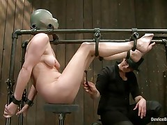 Star heard about s&m but that hottie never thought that things could receive so rough in a session of servitude sadistic masochism. That hottie was tied on that metal frame, a rubber balloon was used to cover her head and suffocate her and then clamps were used to gape her pussy. That was merely the warm up, stick around and see more