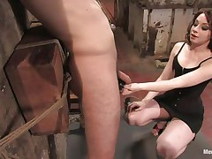 Hawt stud Wolf has his hands tied up by a very hot femdom-goddess called Amber. That babe enjoys attaching weights to his nipples and bald balls. Then, this chab acquires his tight ass whipped for being such a bad boy. What punishments do u think she has prepared next for him?