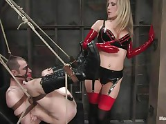 See this super hawt blonde mommy teaching this bad boy a lesson in hard way. This chick bound him up and gagged his face hole before fucking his world upside down! This chick puts on a strap on and fucks him real hard. This chick likewise locked his cock so that that guy can't cum! This chick keeps teasing his cock and fucking his gazoo with pleasure!