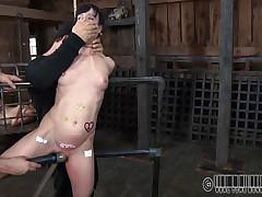 Hanged by her throat and twat rubbed with a vibrator, Elise's torture just began. She's a skinny cute brunette milf that needs a rough treatment and receives it. The executor tortured her meatballs and then inserted an inflatable device in her throat in advance of spreading her legs. There's a lot he will do with her body!