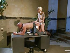 Chad Rock thinks he'll impress mastix Lorelei Lee with his business suit. She's unimpressed. This babe bonks him from behind on the desk with her black strap-on then flips him over on his back and pounds his arse harder. This babe strokes the whore boy's cock and allows him to squirt his spunk all over himself.