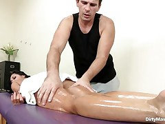 Look at this oiled concupiscent honey getting her sexy body massaged and her nice a-hole spanked. See how concupiscent that guy got when that guy saw her constricted pussy. Is that honey going to acquire some weenie juice on her glamorous face or a big hard weenie inside her sexy ass?