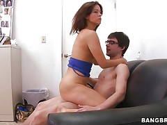Dorky white guy receives to fuck this concupiscent milf. She rides his dick on the daybed in cowgirl and reverse cowgirl and then this guy lays her on the desk and pumps her twat deep. The small tits sweetheart loves it and maybe that chick will have a fun some cum too