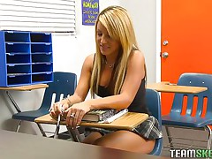 Holly is a nasty schoolgirl and this chick has got an fashionable body. When this chick is taking private tuition her teacher was off for a second and instantly this chick starts rubbing her pussy. Her teacher has seen that, so this chab punished her by groping her boobs and rubbing her vagina and preparing her to fuck hard.