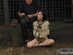 Sexy dark brown Elise is all bound up and shackled and sits obedient on the floor near to her executor who puts a mask on her face. This stud explains this s&m technique and what this babe is supposed to do. The bitch enjoys being the center of attention and waits for her thraldom treatment. Wanna see what happens to her?