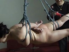 The executor didn't just humiliated this brunette Nippon milf, that guy brooked her self esteem and no that babe accepts her fate. This babe hangs there and then that babe is lowered solely to stay in cowgirl position. After some more humiliation that babe receives a hardcore fuck from behind that makes her pretty face aperture groan and her boobs bounce