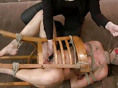 I just love tied up chicks that are getting their cum-hole fucked. This one, Chanel Preston, is a hot bitch and she's tied on that chair during the time that a chicks fingers her pink cum-hole and then leaves her there on the floor, just look at those large hot wobblers and pretty face. In the next scene this hot bitch has her melons tied with rope and merely her nipples are out, that chick acquires whipped on those hard nipples and sexy booty. Perhaps her cum-hole is all wet now and that chick wonders what will happen to her next.