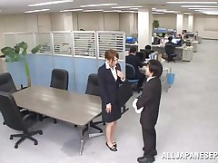 Now that is not a way to treat your work place! The lascivious Japanese employee goes on the desk and urinates on it. This babe is a bit shy and worried about what her colleagues will think, luckily this one supports her and even greater amount then that, this chab gives the wench his knob for a rub and much more. Wonder what she will do next?