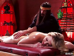 Mia is tensed and that sweetheart needs a nice, oily massage. This hot golden-haired sweetheart stays laid on her back, completely in nature's garb as Bill takes care of her superb body. He slips his hands on her flawless ass, massaging it firmly and then rubs her shaved pussy. Mia receives lustful and now wants to fuck!