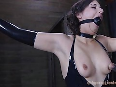 Brunette Marina wearing a darksome latex dress and having a big darksome ball gagging her face hole is about to be punished by her executor. The man starts with her zeppelins and uses very big suckers to torture 'em and when Marine's teats are hard he ties 'em with rubber bands. Appears to be that chick will stay there for a lengthy time