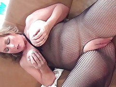 This hawt aged whore with large round tits is sitting on the daybed wearing hose and this babe is playing with her boobs. That babe begins rubbing her large hairless pussy becoming very horny. The golden-haired takes now a long sex-toy and begins riding it awaiting the large orgasm coming soon.