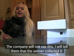 Golden-Haired with Giant boobs thinks this hottie has won an iPad.  Well this hottie will if this hottie rides my big dick.