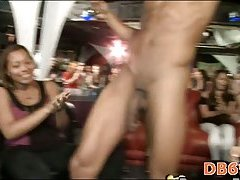 Homosexual stripper cums on chick face