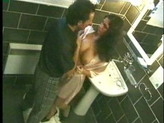 Hot dark haired sweetheart nailed in washroom