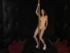 Slim sweetheart works the stripper pole stripped