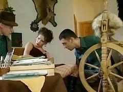 German Brunette hair hair Visited by 2 Men
