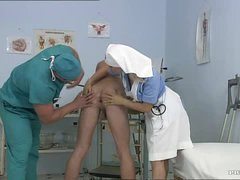 Breasty Golden-haired Nurse Kathy Sweet Receives Facialized In a Bisexual 3some
