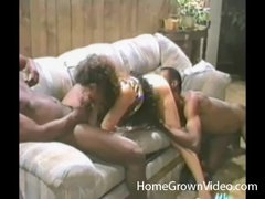Retro cocksucker blows 2 black men