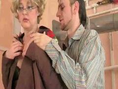 Sexy granny sucks and bonks schlong