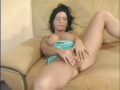 Busty Sabrina Dotee rubs her cleanly bald bawdy cleft