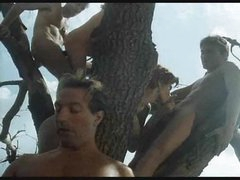 Retro suck and fuck fuckfest outdoors in a tree