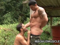 Horny military muscled gay males doing some intensive training
