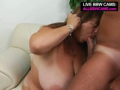 Mature bbw enjoys tit fucking and opens greasy muff for pounding