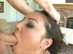 Fleshly Adrianna Luna gets her slippery throat hammered