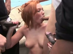 Red head wench vixen vogel sucks down large hard rods