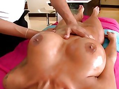 Lustful Angelina Valentine has her melons rubbed with oil