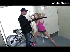 Naughty Blonde Cutie Getting Chained Cookie Rubbed With Baton Giving Blowjob For The Security Guard In The Public Toilette