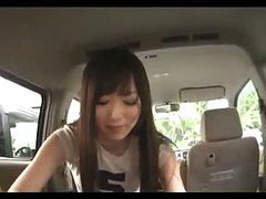 Asian Cutie Sucking Man Cock Giving Tugjob Cum To Hand In The Back Of The Car