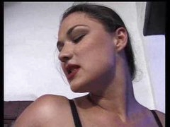 Submissive Swarthy Licking His Dominatrix Feet