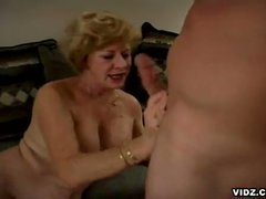Golden-haired oldy takes limelight after long time of cock scarcity