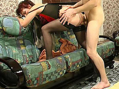 Aged mistress in sexy lingerie teaching a exposed dong-strong fellow to behave