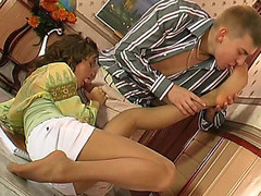 Horny beauty giving footjob previous to getting her pantyhose ripped with rocky shlong